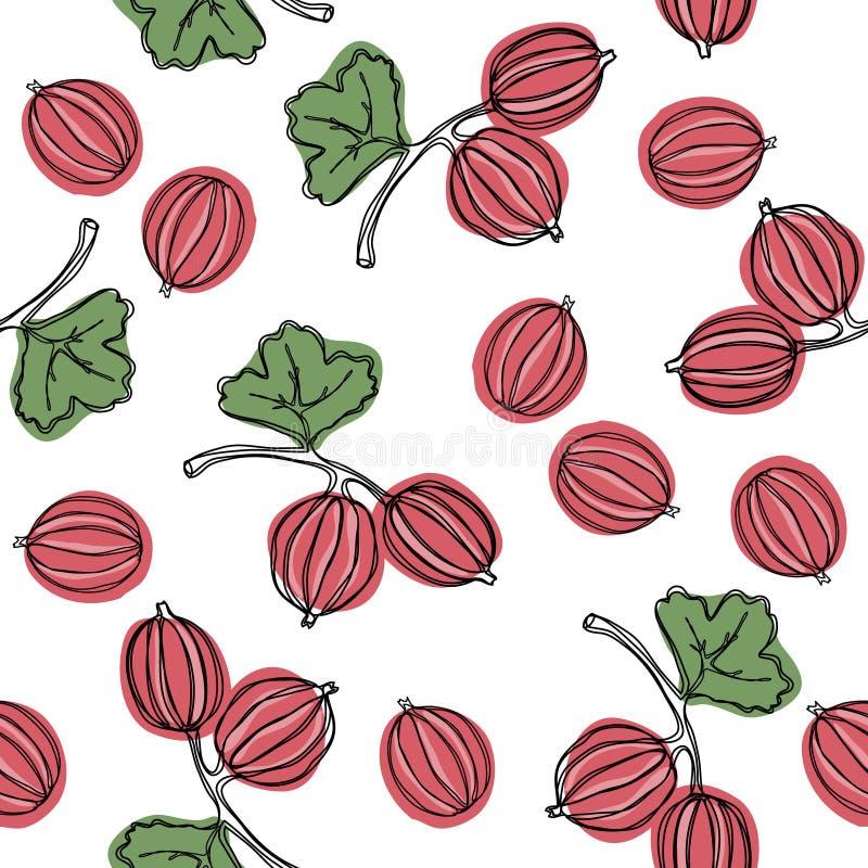 Kruisbes naadloos vectorpatroon De Indische boom van kruisbesmalacca, of kruisbes Eetbaar fruit Goed voor achtergrond, textiel royalty-vrije illustratie