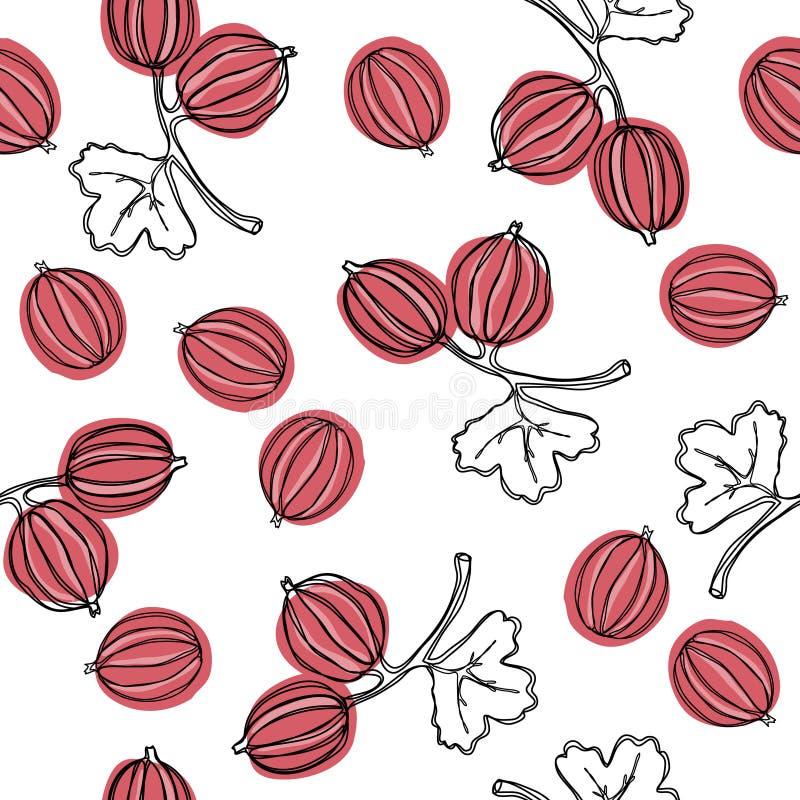 Kruisbes naadloos vectorpatroon De Indische boom van kruisbesmalacca, of kruisbes Eetbaar fruit Goed voor achtergrond, textiel, w royalty-vrije illustratie