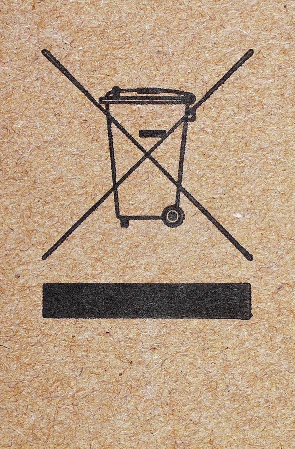 Kruisen-uit baksymbool op kartondocument stock afbeeldingen