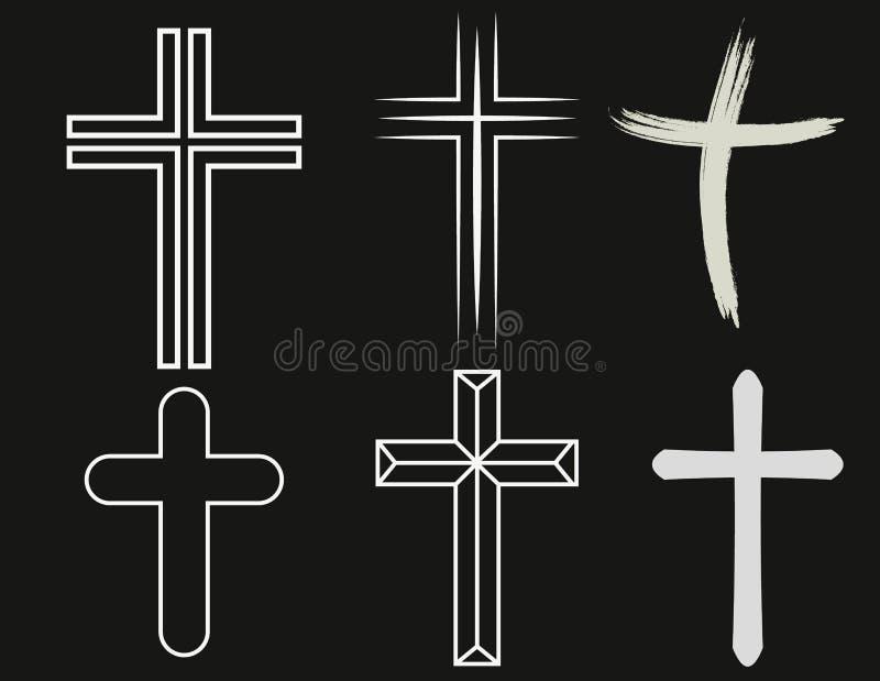 Kruisen van christelijke godsdienst Reeks geïsoleerde orthodoxy en katholicisme goddelijke symbolen in vorm van kruis, Jesus Chri royalty-vrije illustratie