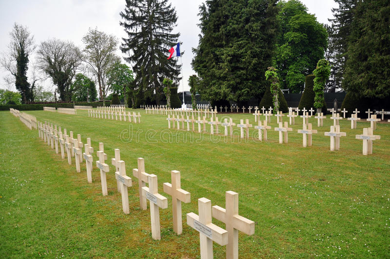 Kruisen van Franse militairen in Franse begraafplaats, Dinant royalty-vrije stock foto