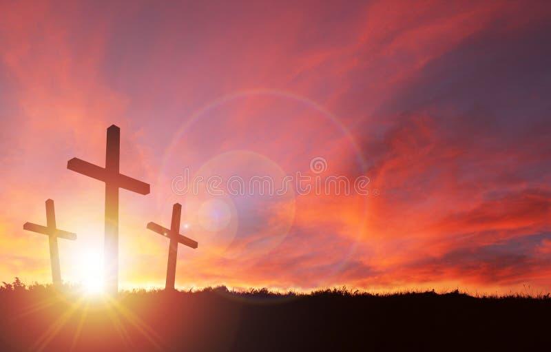 Kruisiging van de Ruimte van Jesus With Sunset Sky en van het Exemplaar vector illustratie