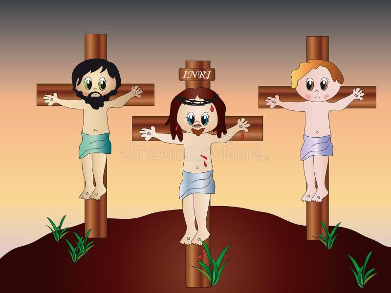 Kruisiging van Jesus stock illustratie