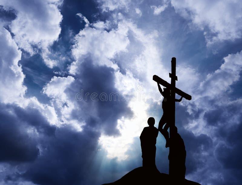 Kruisiging van Jesus stock afbeelding
