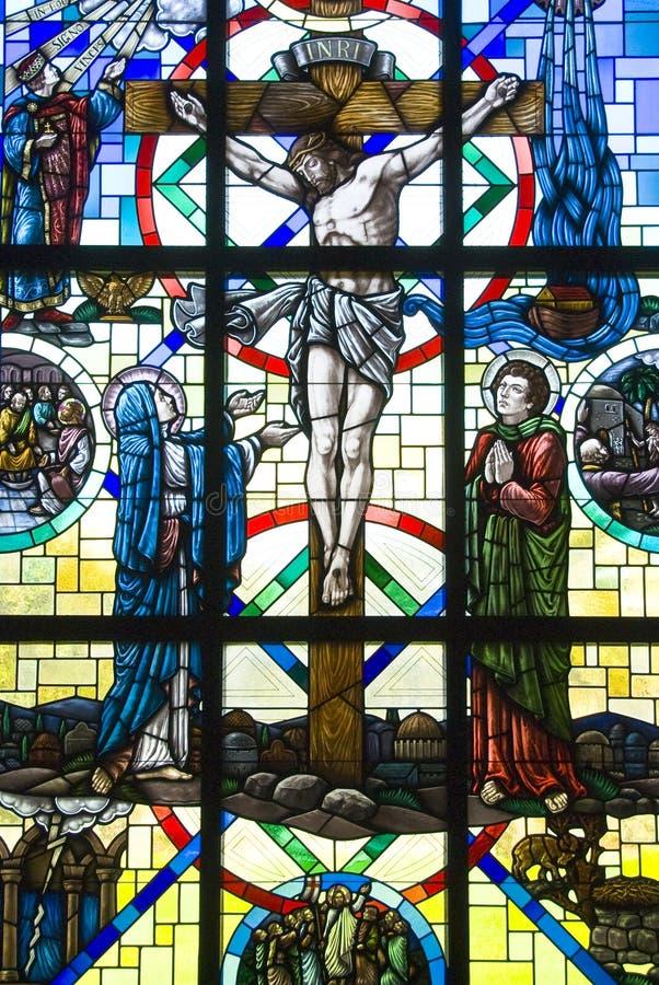 Kruisiging van Jesus-Christus stock afbeelding