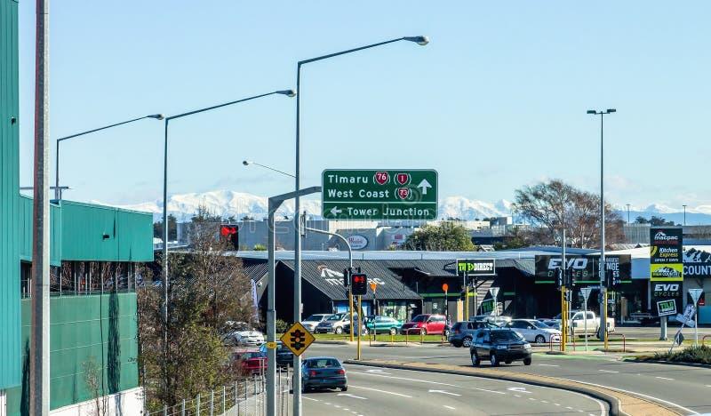 Kruising bij Blenheim-Road en Mandeville-straat, Christchurch, Nieuw Zeeland stock afbeeldingen