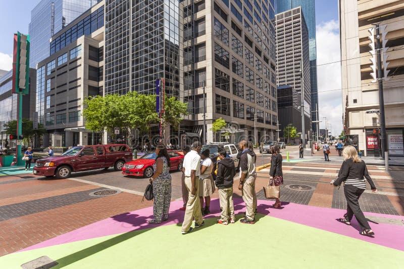 Kruispunt in Houston Downtown, Texas stock foto's