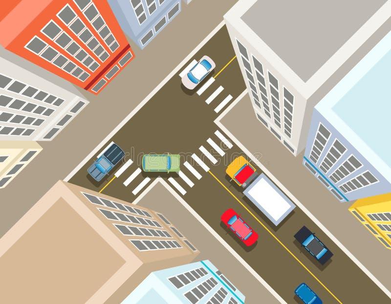 Kruispunten in de stads hoogste mening stock illustratie