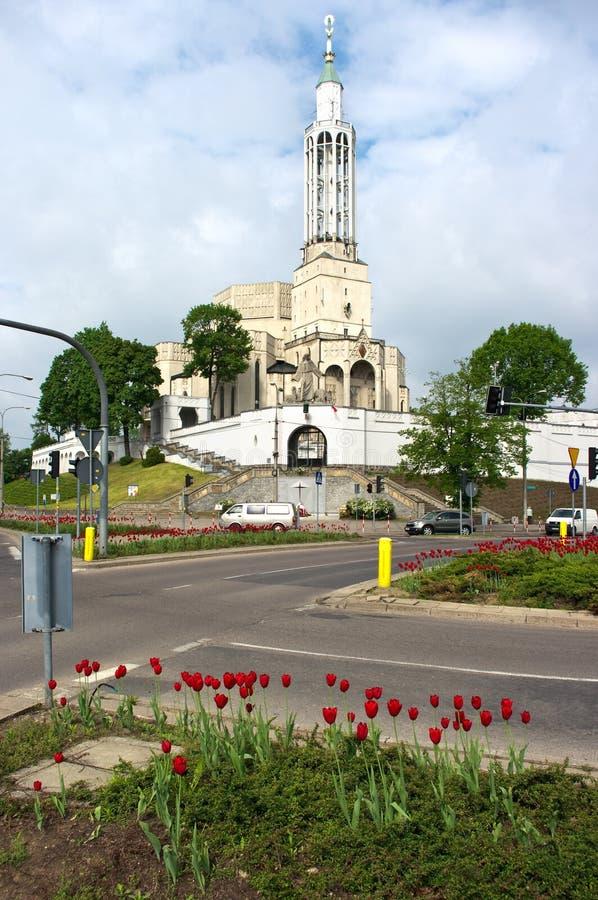 Kruispunten dichtbij de kerk van st. Roch in Bi royalty-vrije stock afbeeldingen