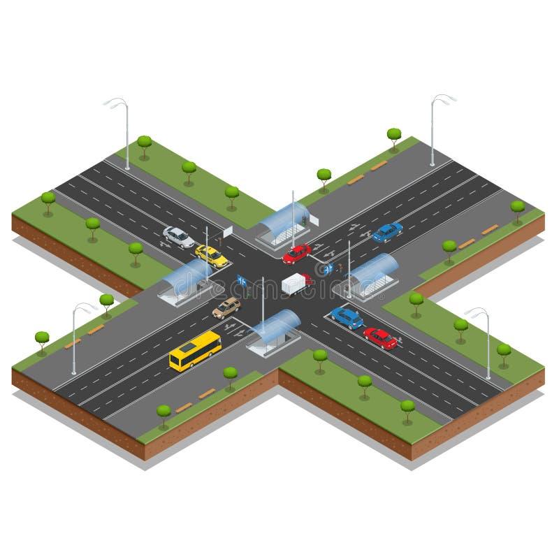 Kruispunten en van wegnoteringen isometrische vectorillustratie Vervoerauto, stedelijk en asfalt, verkeer De kruising van Wegen vector illustratie
