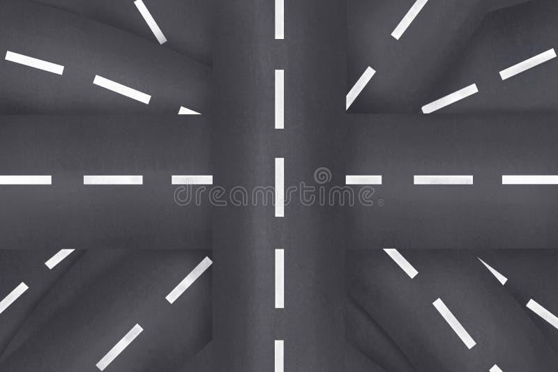 Kruispunten en wegen in chaotisch Het concept probleem en keus Labyrint van wegen royalty-vrije stock afbeeldingen