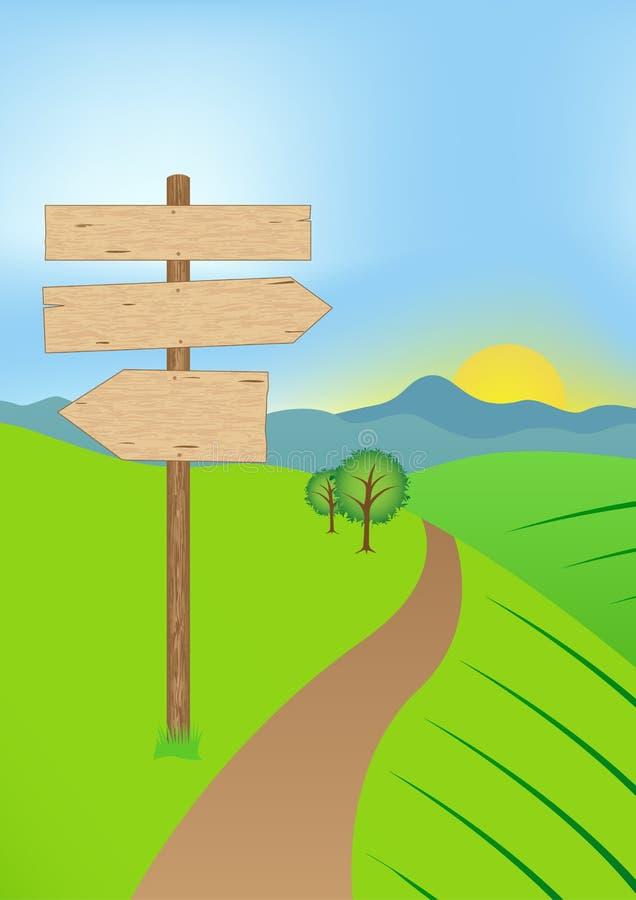 Kruispunten in landschap met teken royalty-vrije illustratie