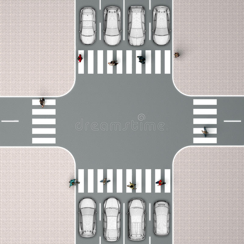Kruispunten met een voetgangersoversteekplaats Hoogste mening vector illustratie