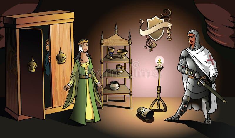 Kruisvaarder en zijn vrouw royalty-vrije illustratie