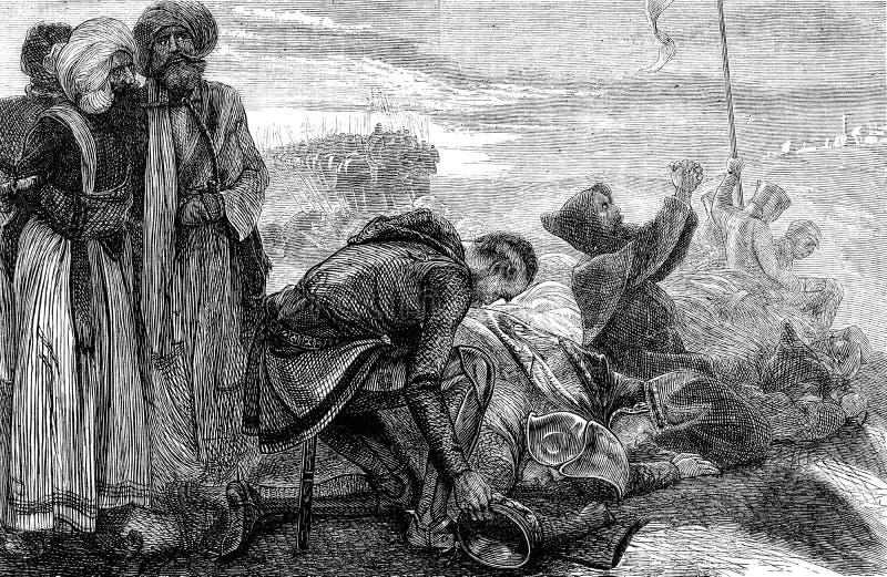 Kruisvaarders die daar eerste mening van Jeruzalem ontvangen royalty-vrije illustratie