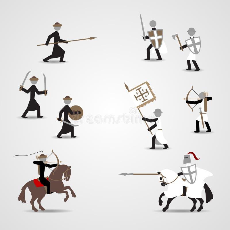 Kruisvaarders en saracens stock illustratie