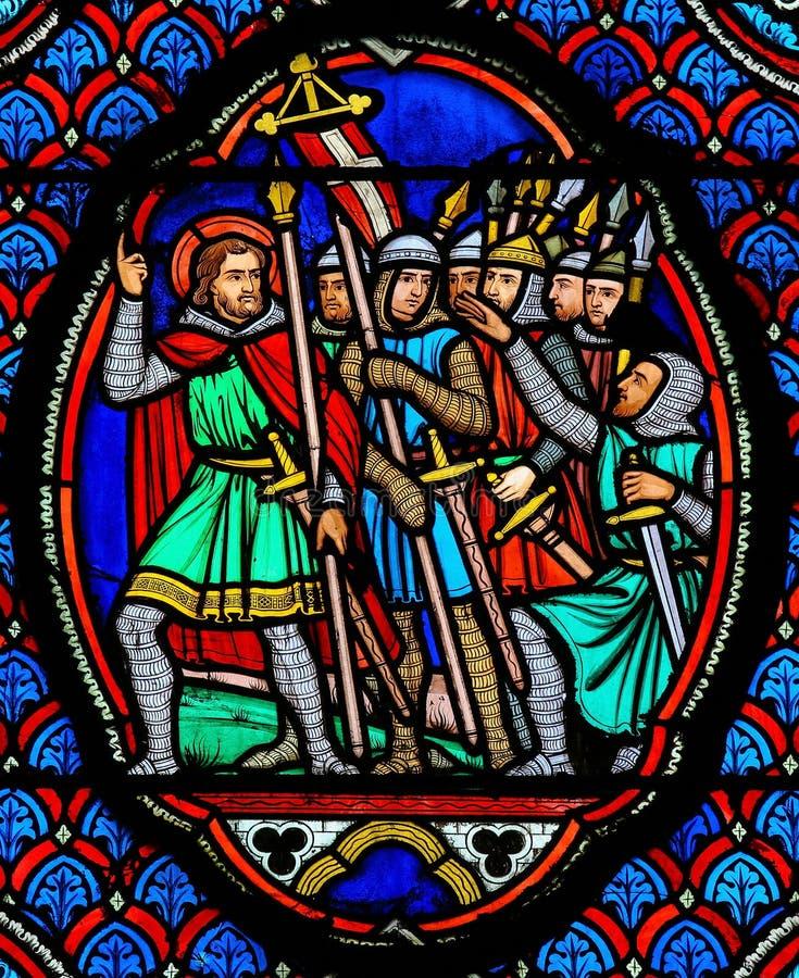 Kruisvaarders - Gebrandschilderd glas in Kathedraal van Reizen, Frankrijk royalty-vrije stock afbeeldingen