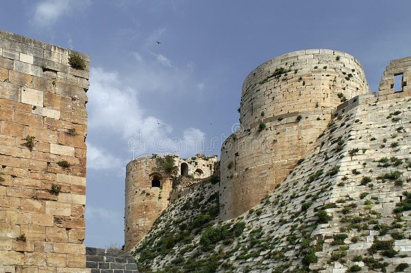 Kruisvaarderskasteel Krak des Chevaliers in Syrië stock fotografie