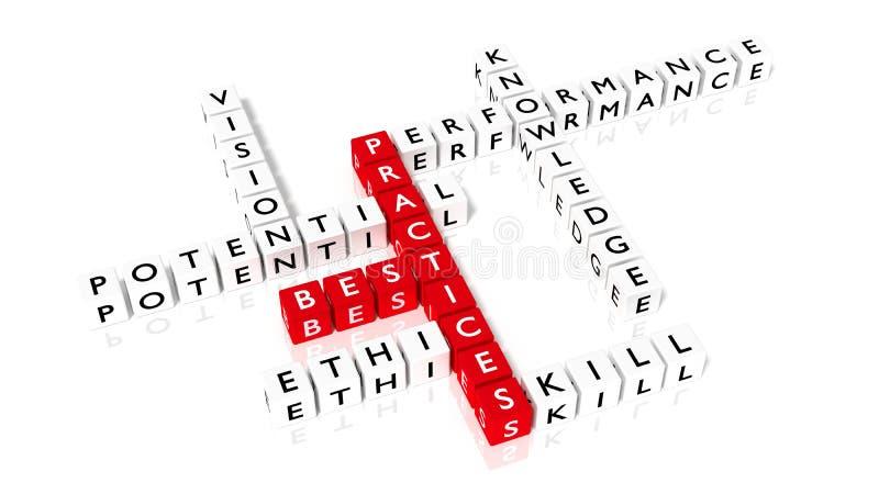 Kruiswoordraadsel dat beste praktijkencomponenten toont zoals dobbelen stock illustratie