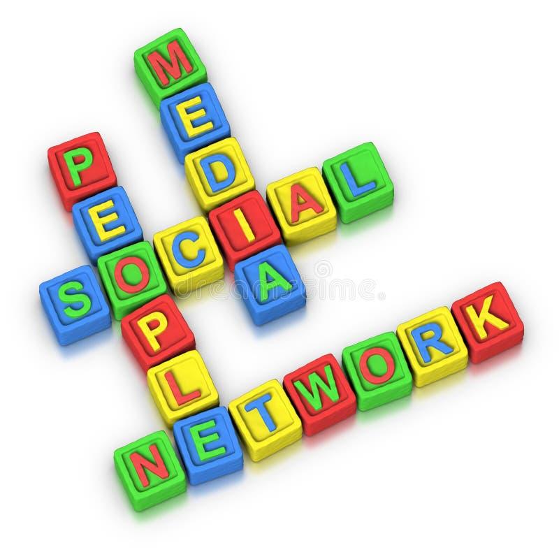 Kruiswoordraadsel: HET SOCIALE NETWERK VAN DE MENSEN VAN MEDIA vector illustratie