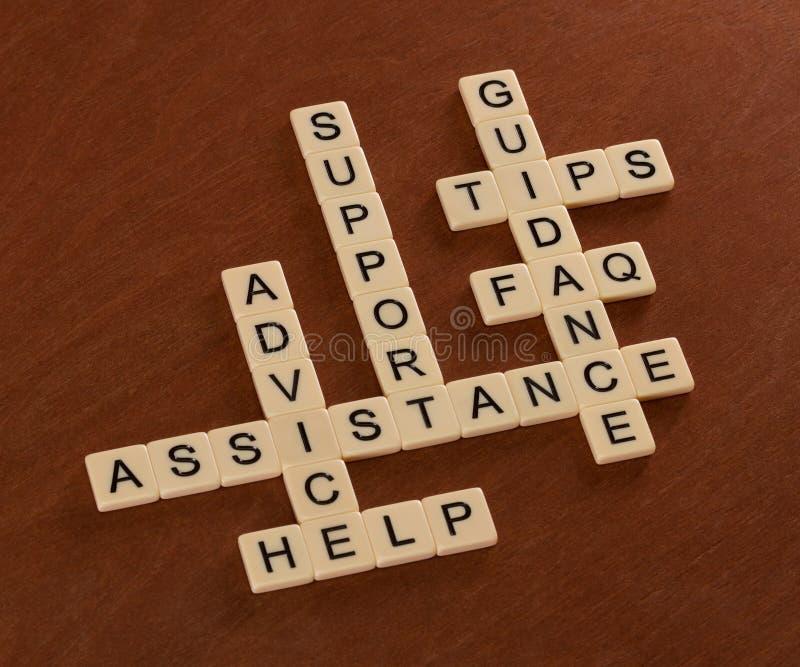 Kruiswoordraadsel met woordensteun, Hulp, FAQ, Hulp Cust stock afbeelding