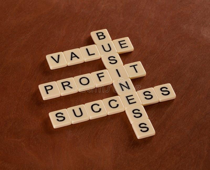Kruiswoordraadsel met woordenwaarde, winst, zaken Succes binnen royalty-vrije stock afbeelding