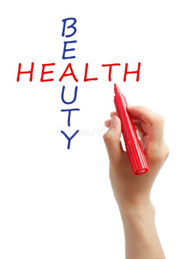 Kruiswoordraadselschoonheid en gezondheid stock foto