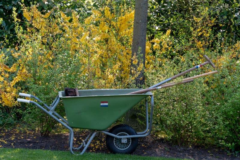Kruiwagen bij Keukenhof-Tuinen, Lisse, Zuid-Holland Keukenhof is genoemd geworden Tuin van stock afbeelding