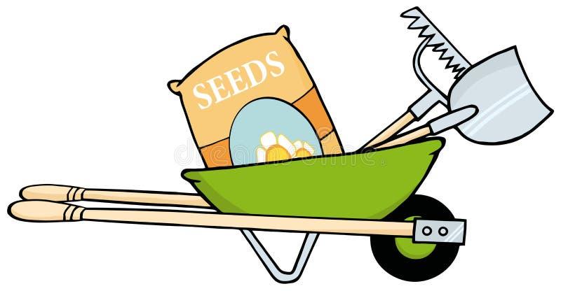 Kruiwagen met zaden, een hark en een schop stock illustratie