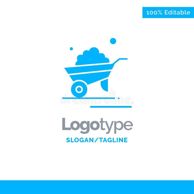 Kruiwagen, Tuin, Karretje, Vrachtwagen, Kruiwagen Blauw Stevig Logo Template Plaats voor Tagline vector illustratie