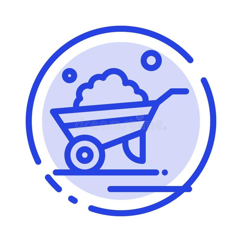 Kruiwagen, Tuin, Karretje, Vrachtwagen, de Lijnpictogram van de Kruiwagen Blauw Gestippelde Lijn vector illustratie