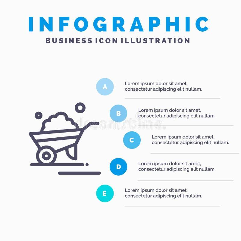 Kruiwagen, Tuin, Karretje, Vrachtwagen, het pictogram van de Kruiwagenlijn met infographicsachtergrond van de 5 stappenpresentati royalty-vrije illustratie