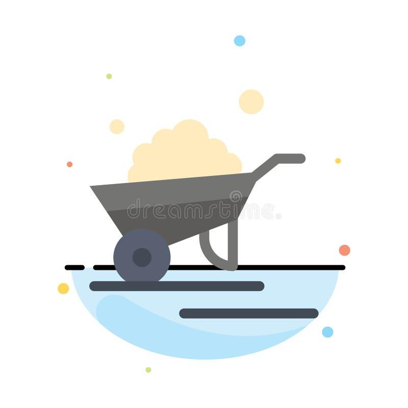 Kruiwagen, Tuin, Karretje, Vrachtwagen, het Pictogrammalplaatje van de Kruiwagen Abstract Vlak Kleur vector illustratie