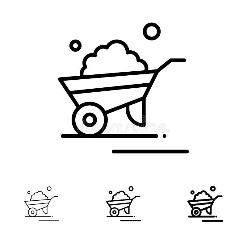Kruiwagen, Tuin, Karretje, Vrachtwagen, het pictogramreeks van de Kruiwagen Gewaagde en dunne zwarte lijn stock illustratie