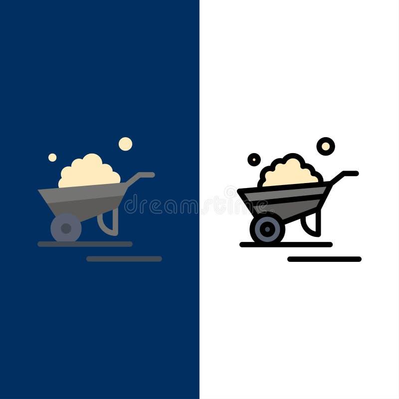 Kruiwagen, Tuin, Karretje, Vrachtwagen, Kruiwagenpictogrammen Vlak en Lijn vulde Pictogram Vastgestelde Vector Blauwe Achtergrond vector illustratie