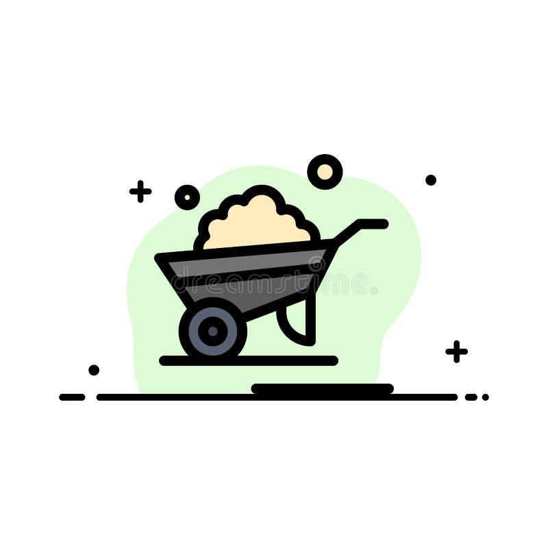 Kruiwagen, Tuin, Karretje, Vrachtwagen, Malplaatje Kruiwagen van de Bedrijfs het Vlakke Lijn Gevulde Pictogram Vectorbanner vector illustratie