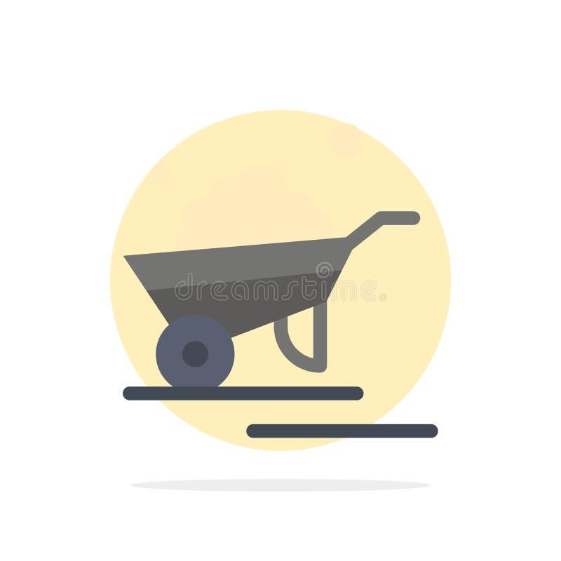 Kruiwagen, Tuin, Karretje, Vrachtwagen, van de Achtergrond kruiwagen Abstract Cirkel Vlak kleurenpictogram stock illustratie