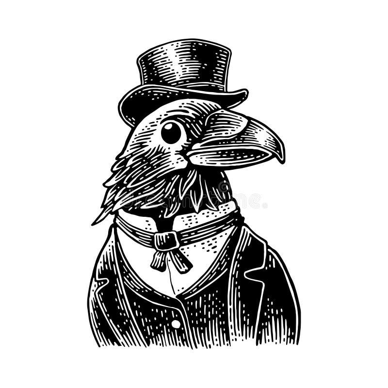 Kruków dżentelmeny ubierali w kostiumu, krawacie i prostokątnej butli, Rocznika czarny rytownictwo ilustracji