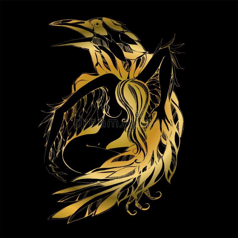 Kruk i anioł grafit Złoto obrońcy Patron wektor royalty ilustracja