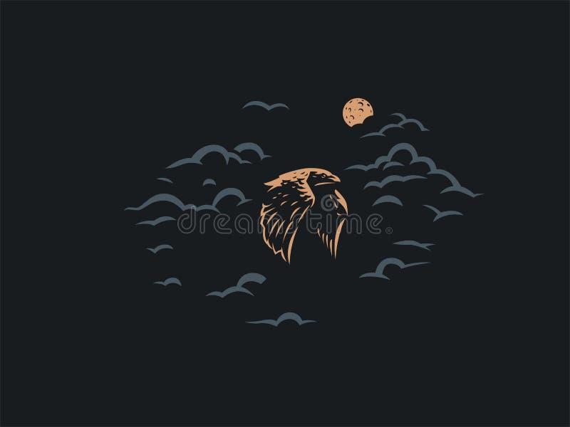 Kruk trzepocze swój dużych skrzydła ilustracji