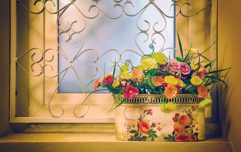 Kruka av blommor på fönstret arkivbild