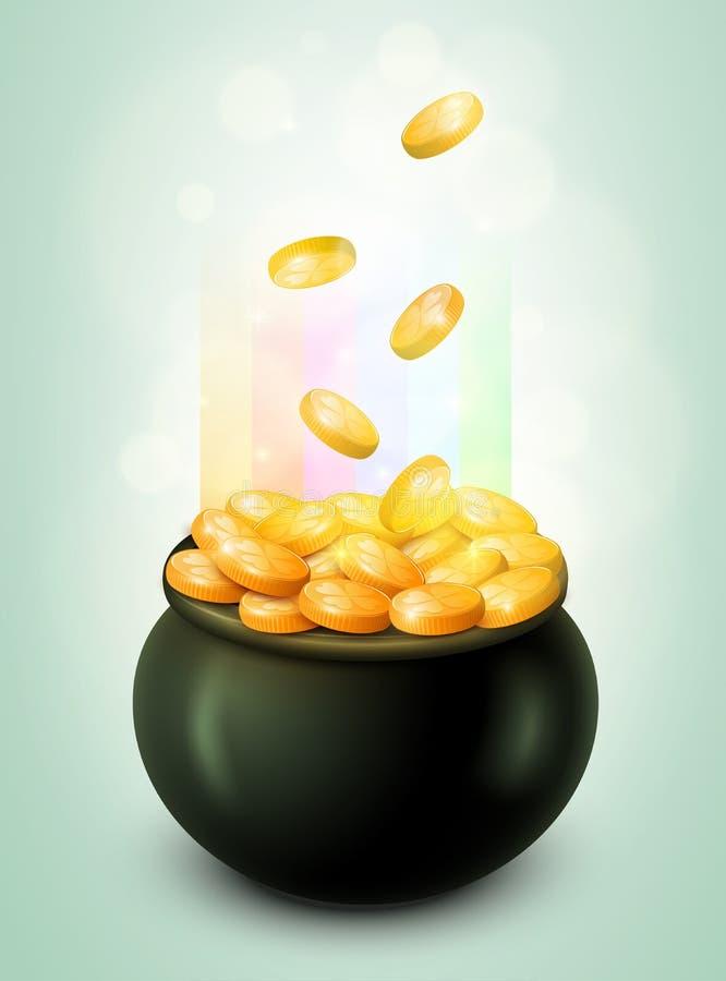 Kruka av guld royaltyfri illustrationer