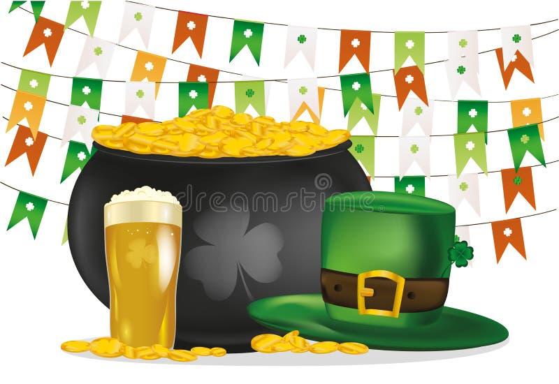 Kruka av guld- mynt mot bakgrunden av gröna flaggor Hatt och öl royaltyfri illustrationer