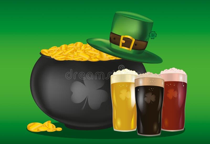Kruka av guld- mynt mot hatten och öl för dag för St Patrick ` s vektor illustrationer