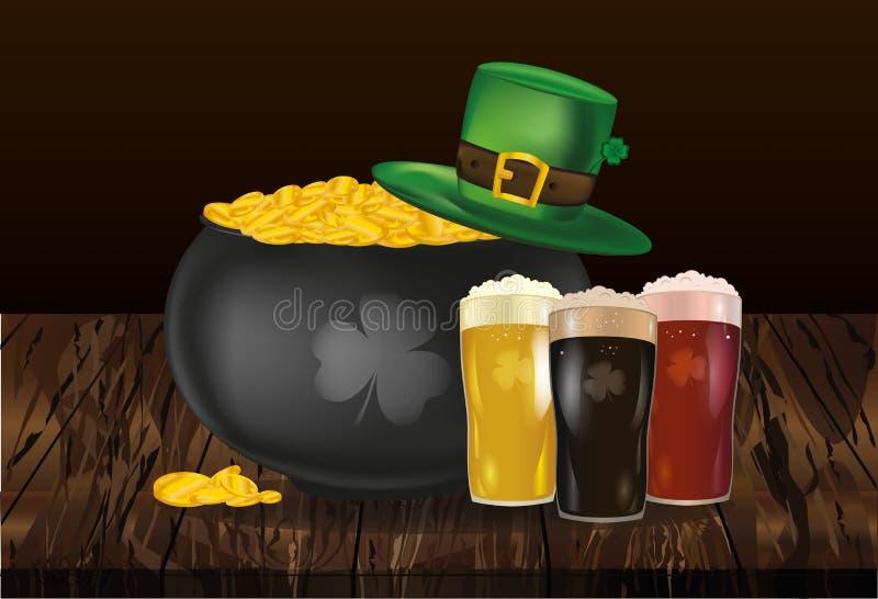 Kruka av guld- mynt mot hatten och öl för dag för St Patrick ` s I vektor illustrationer