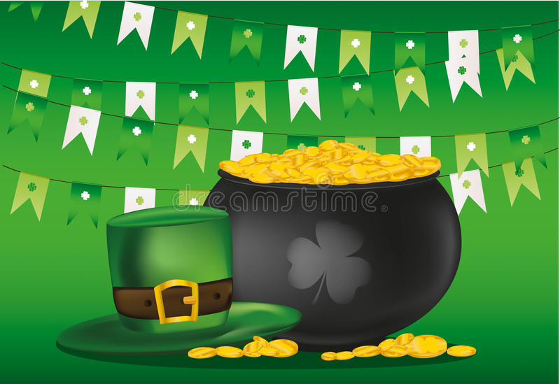 Kruka av guld- mynt på en bakgrund av gröna flaggor Hatt för Patrick royaltyfri illustrationer