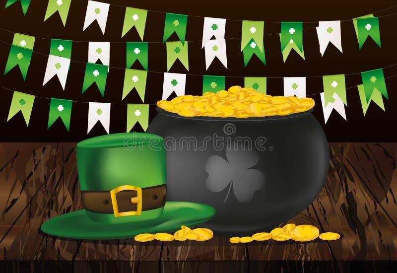 Kruka av guld- mynt på en träbakgrund och gräsplanflaggor Hatt fo stock illustrationer