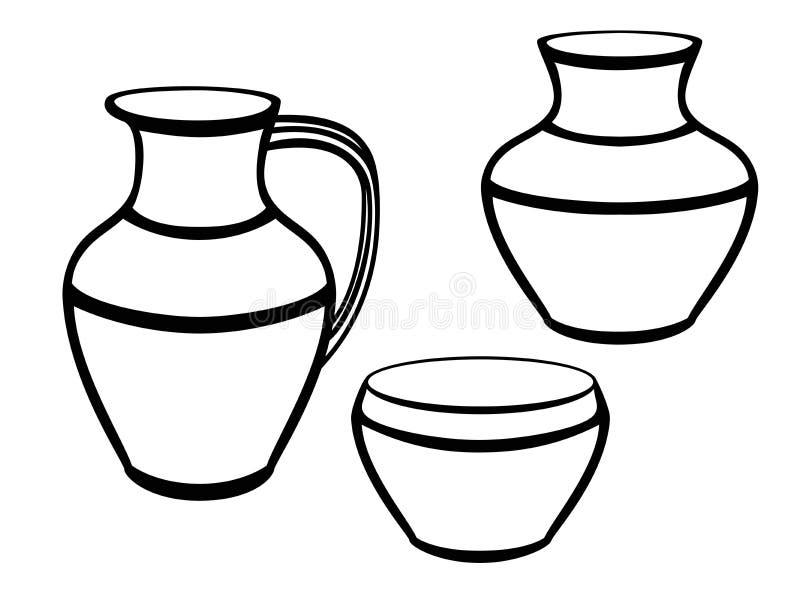 Kruka En uppsättning av krukmakeri Etnisk keramik krukmakeri Linje teckning För att färga vektor illustrationer