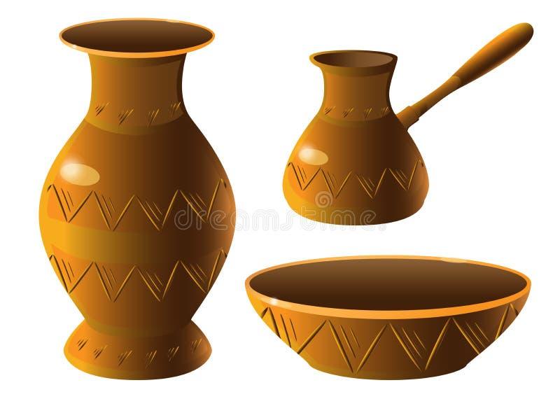 Kruka En uppsättning av krukmakeri Vas bunke, turkisk kaffebryggare Etnisk keramik med prydnaden krukmakeri stock illustrationer