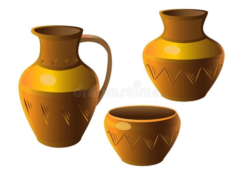 Kruka En uppsättning av krukmakeri Vas tillbringare, kruka Etnisk keramik med prydnaden krukmakeri royaltyfri illustrationer